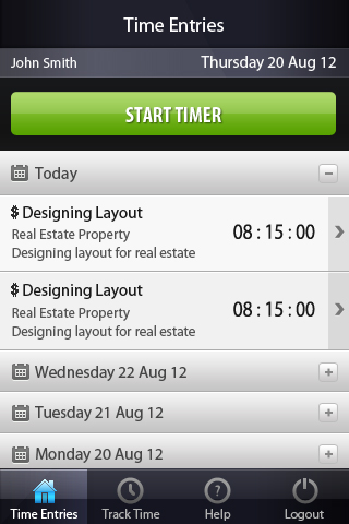 iPhone App - Time Entry View